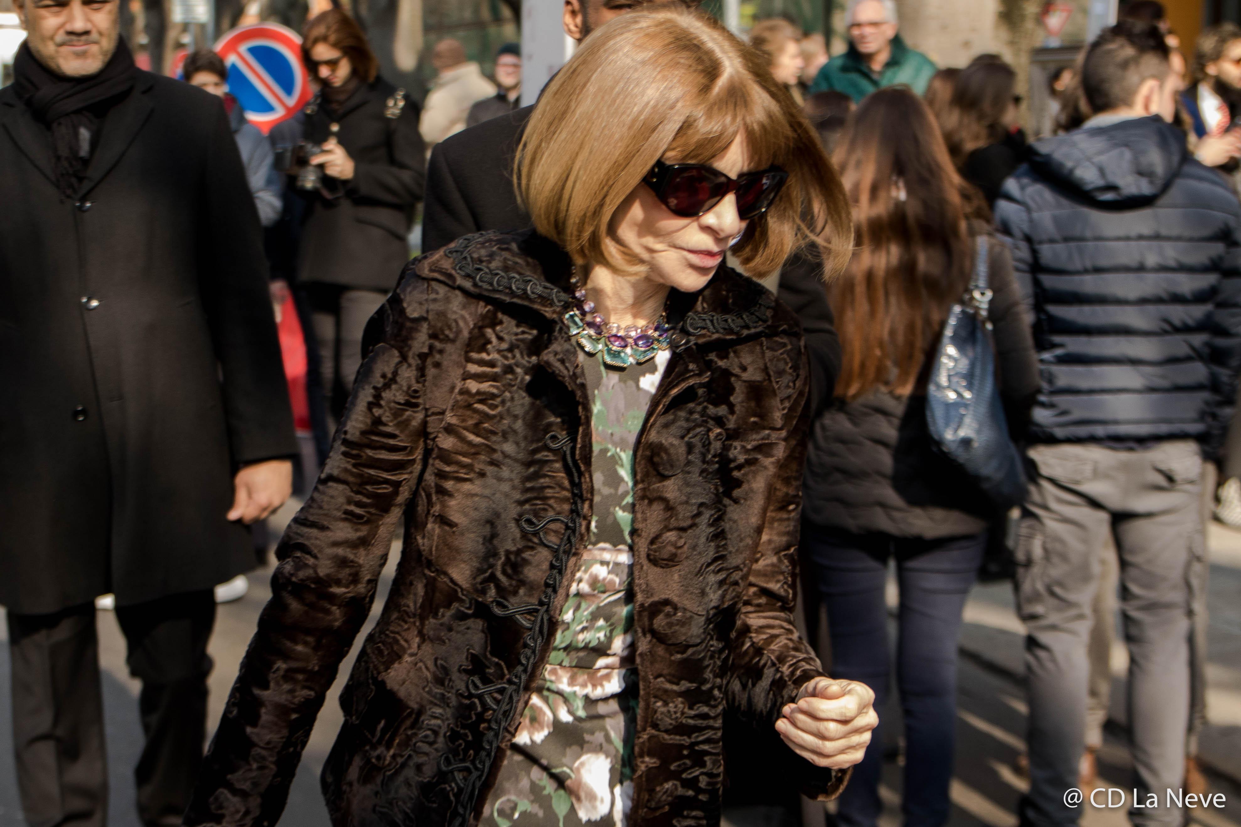 Anna Wintour at Giorgio Armani Milan Fashion Week FW17