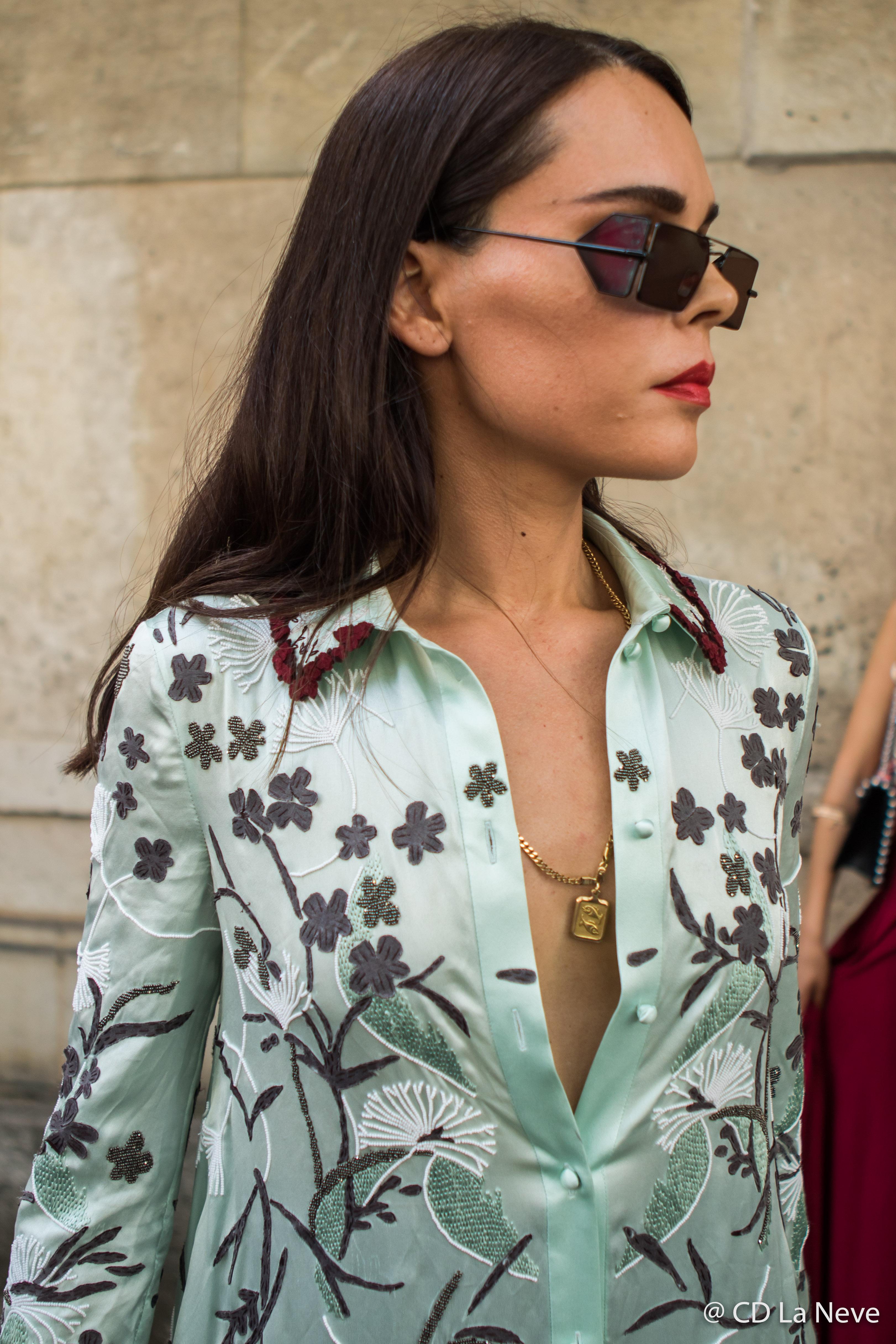 Evangelie Smyrniotaki Valentino Haute Couture Street Style Paris Fashion Week AW17