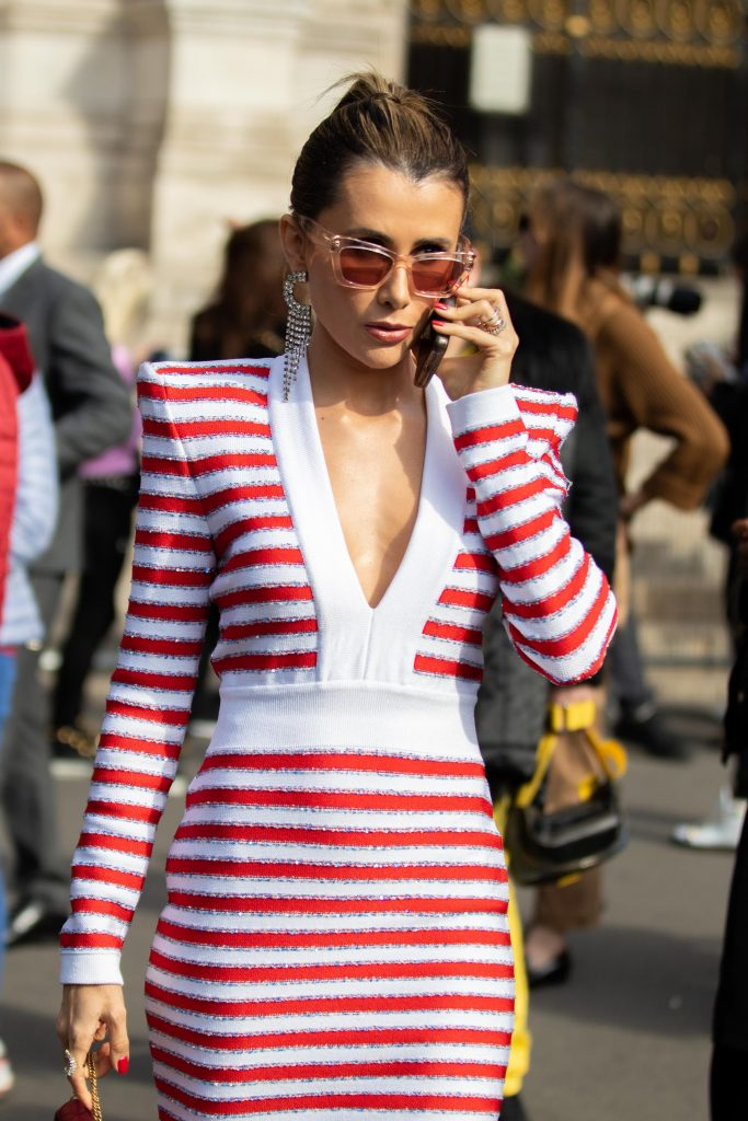 Stripy Street Style Paris Fashion Week Balmain SS20 PFW
