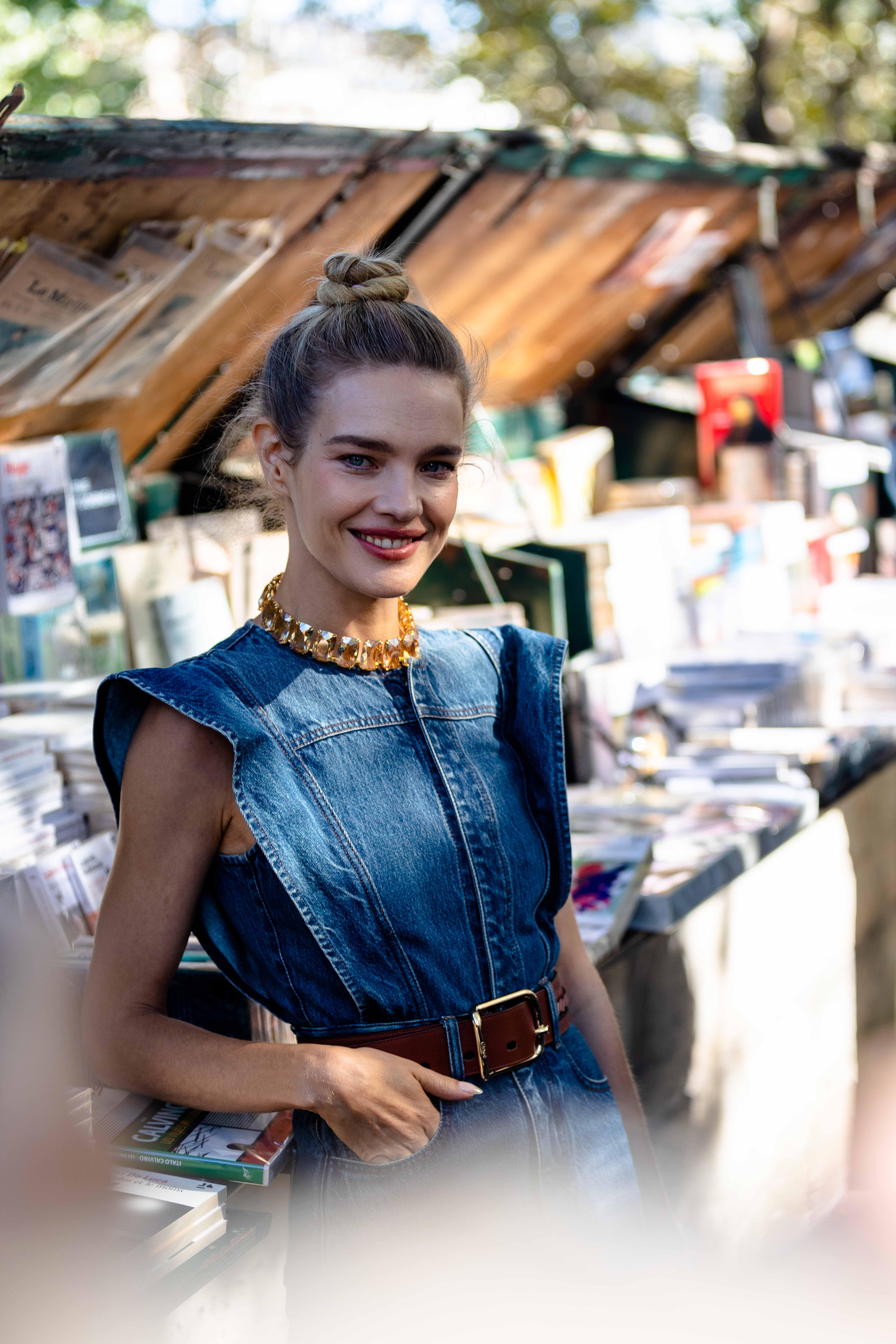 Natalia Vodianova before Chloe Paris Fashion Week SS22 Street Style