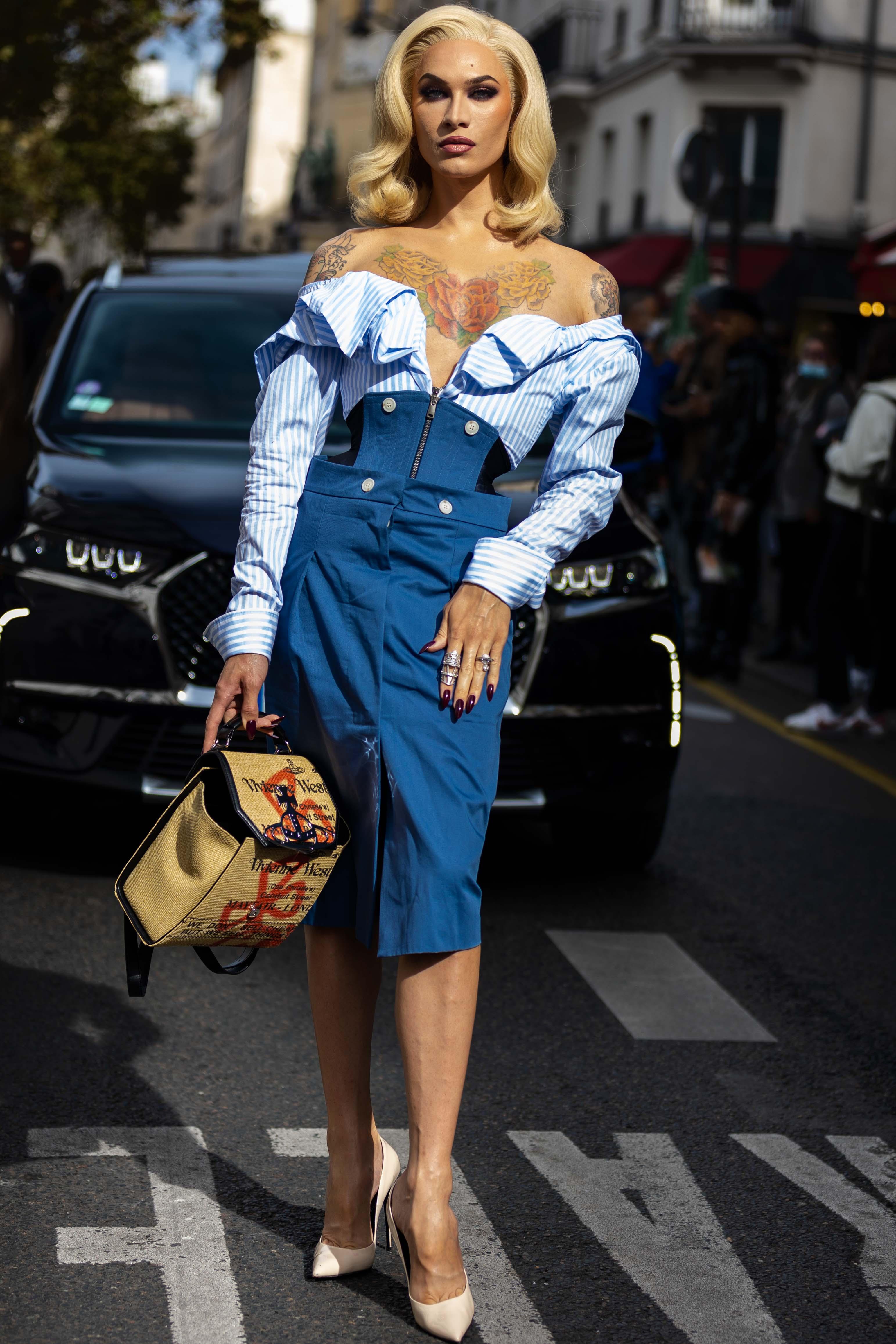 Miss Fame Street Style Vivienne Westwood Paris Fashion Week SS22